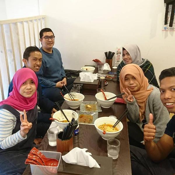 People eating halal ramen in Tokyo